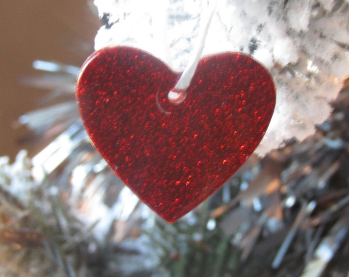 Red glitter hearts Christmas tree decoration. Small, pack of 5.
