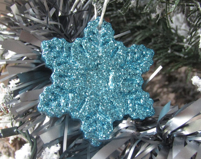 Turquoise Snowflake Christmas Decoration. Large.