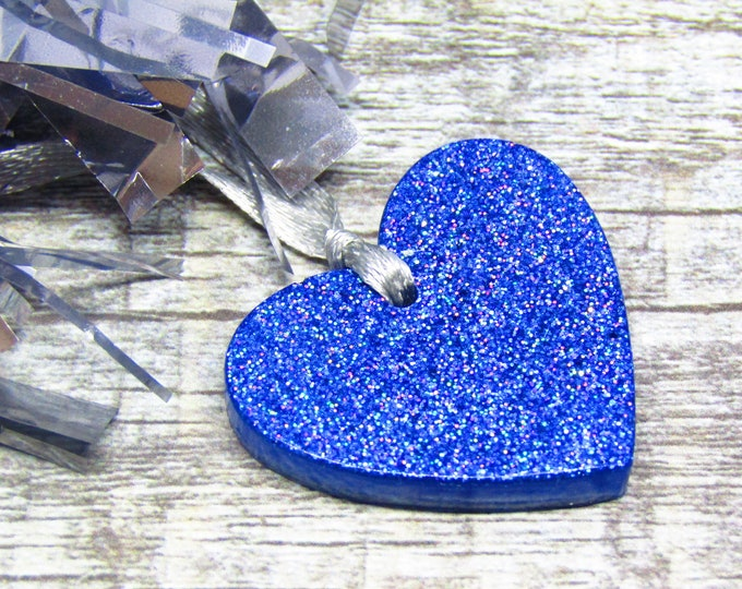 Small blue sparkle heart Christmas decorations. Pack of 5.