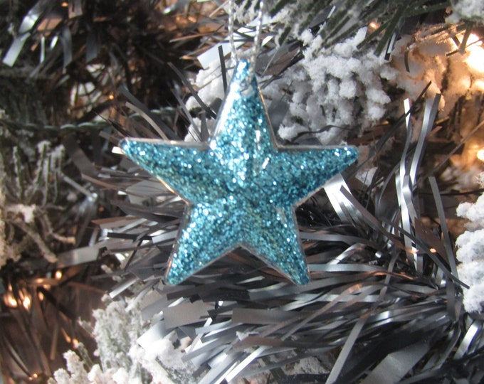 Turquoise Star Christmas Decorations - Small, Pack of 5