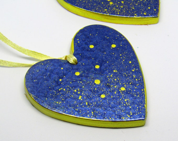 Large blue and gold hand-painted heart. Christmas hanging decoration/ door hanger.