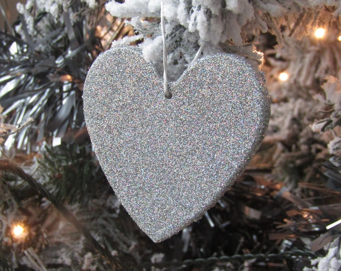 Luxury Silver Heart Christmas Tree Decoration - Large