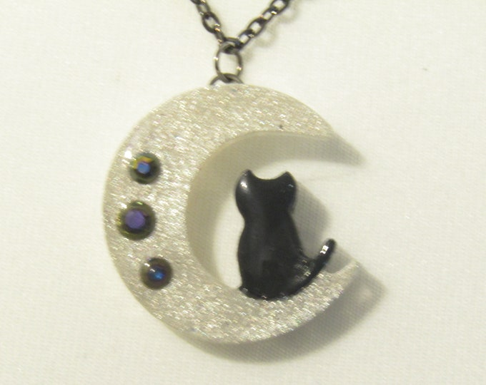 Black Cat on a Moon Pendant Necklace
