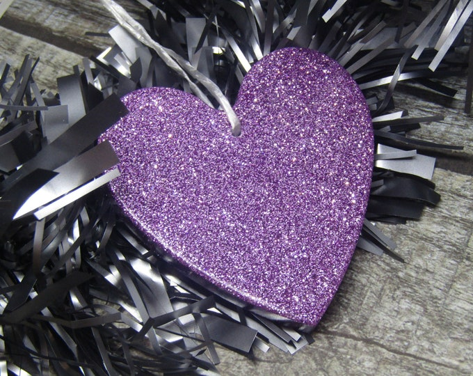 Sparkly lilac heart Christmas tree decoration. Large princess heart.