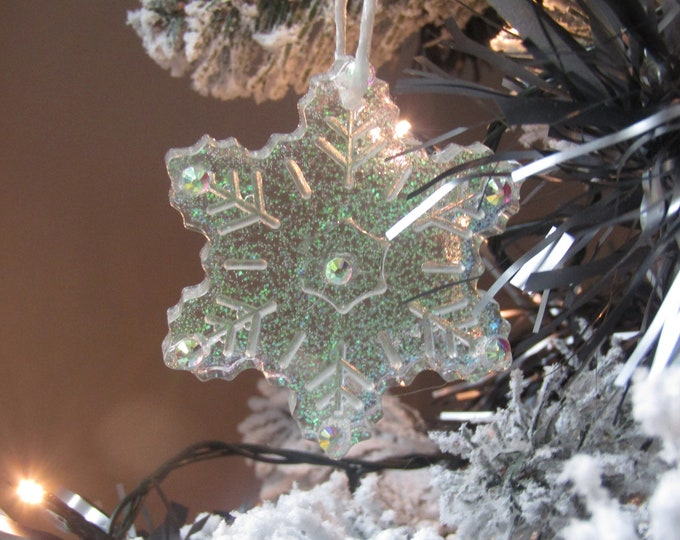 Snowflake Christmas Decoration. Large. Decorated with rainbow rhinestones.