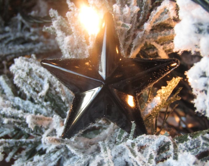 5 black star Christmas tree hanging decorations. Small, pack of 5, shiny black.