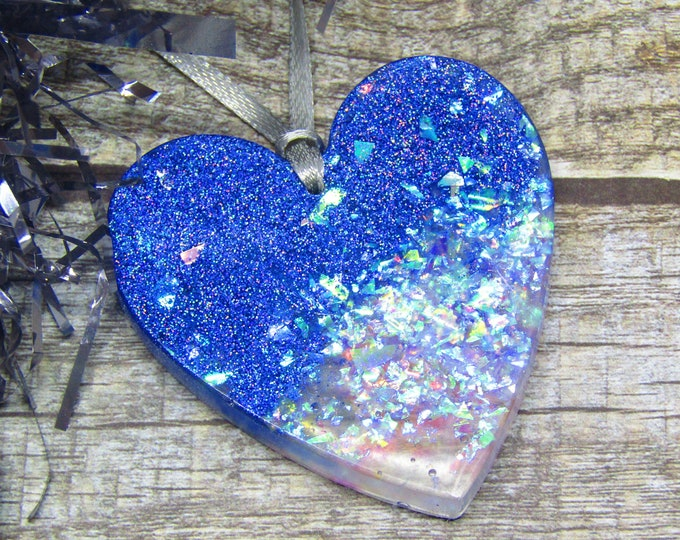 "Large Sparkly Blue and Holographic Christmas Tree Decoration. ""Snowstorm"" hanging decoration."