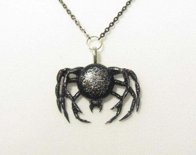 Gothic Black Spider Pendant Necklace. Black sparkle pendant on a black chain
