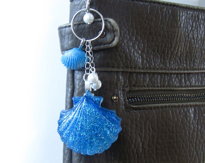 Blue Glitter Shell Key Ring or Bag Charm with a Secret Faux Pearl
