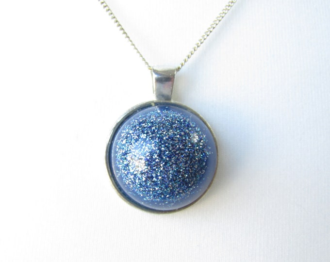 Blue Sparkle Resin Pendant