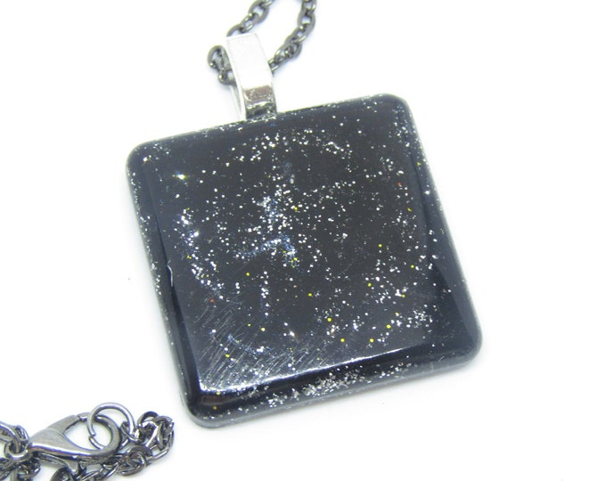 Black and Silver Sparkles Square Necklace with Black chain