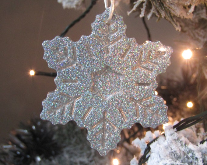 Luxury Holographic Silver Snowflake Christmas Tree Decoration - Large
