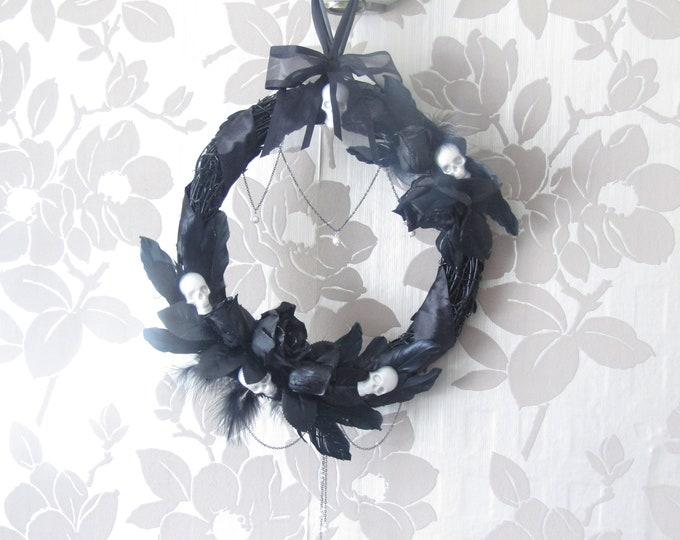 Gothic Black Wreath wall or door hanging.