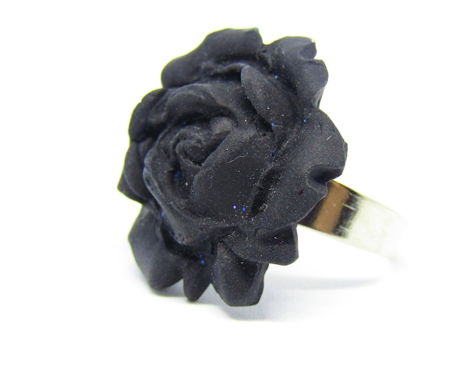 Adjustable Black Rose Ring