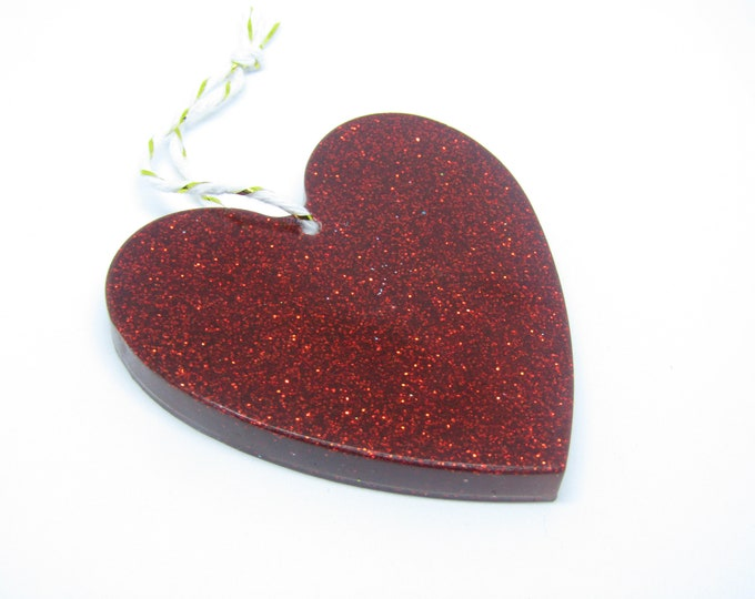Red Heart Hanging Decoration. Large in red glitter.