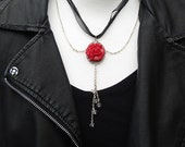 A Red Rose Gothic Inspired Pendant Necklace, quot Raindrops on a Red Rose. quot