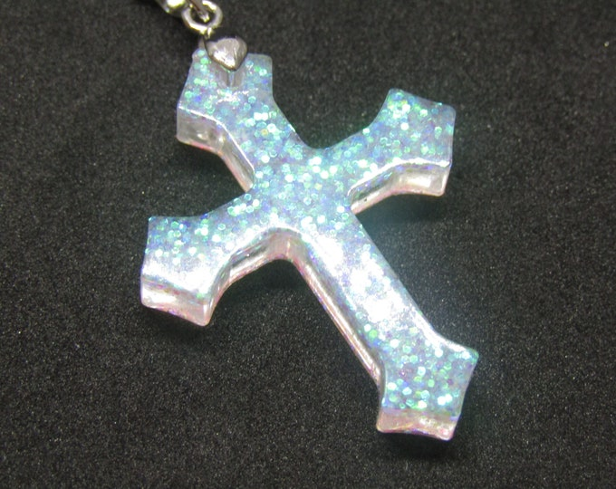Pink Sparkly Cross Pendant Necklace