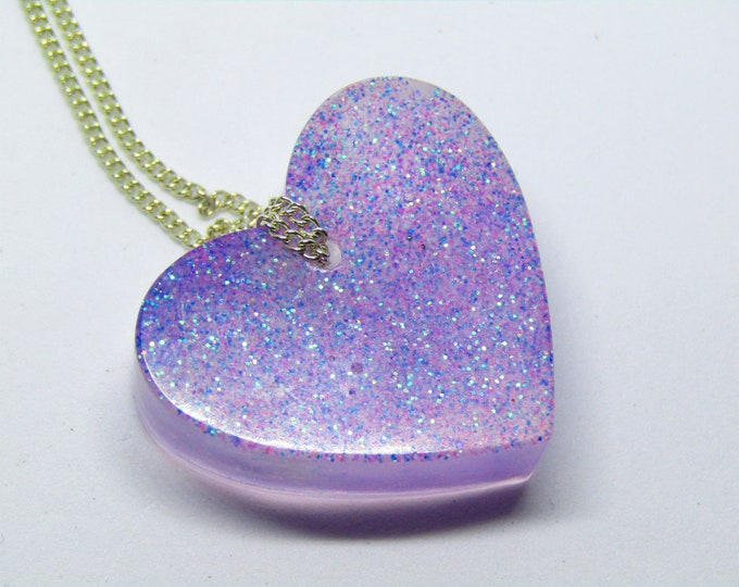 Lilac Glitter Heart Resin Pendant Necklace