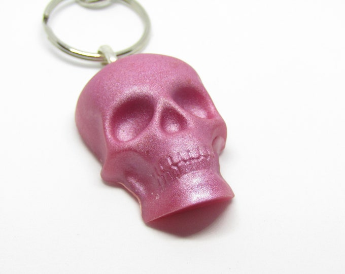 Purple Resin Skull Key chain. Skull Keyring
