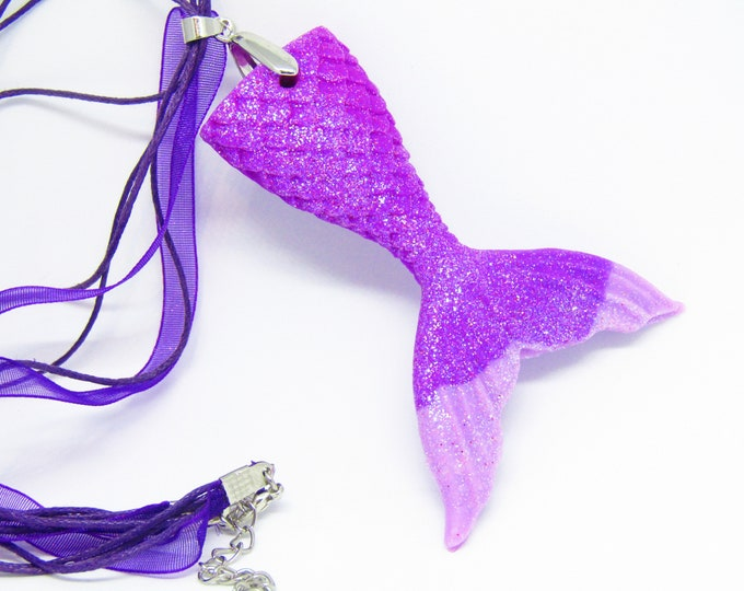 Mermaid Tail Choker Necklace. Purple and Pink Glitter Polymer Clay Pendant.