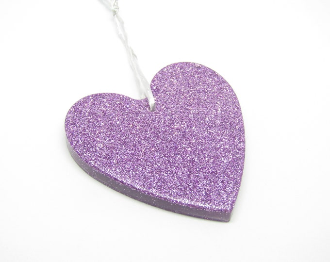 Heart Hanging Decoration. Large sparkly lilac princess heart.