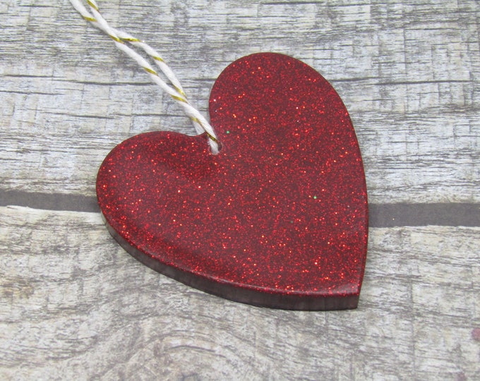 Red Heart Christmas Hanging Decoration. Large in red glitter.