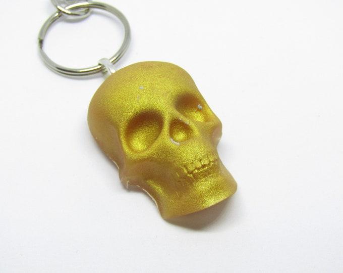 Skull Keyring. Gold Skull Resin keychain.