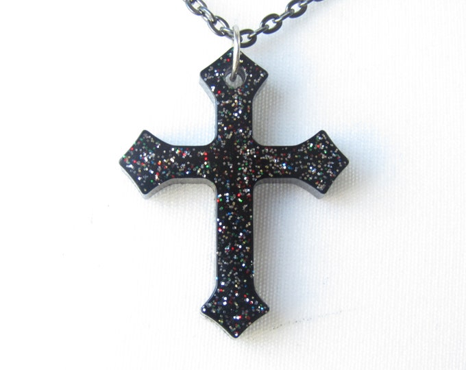 Black Iridescent Cross on a Black Chain. Gothic Fashion Necklace.