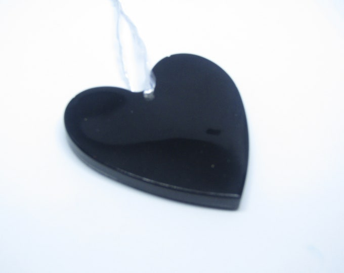 Black heart hanging decoration. Large. Door hanging or Christmas tree decoration.