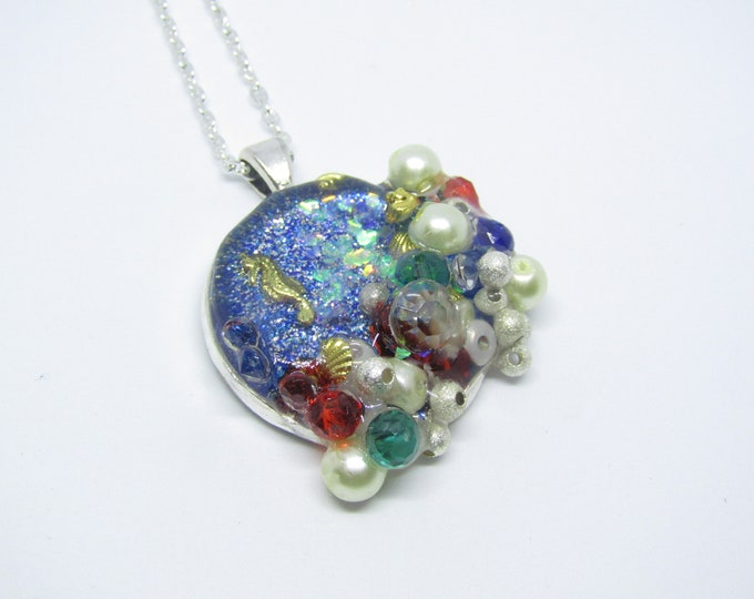 Seahorse and Treasure Resin Pendant Necklace.