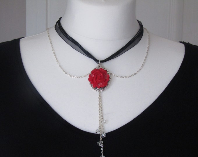 "A Red Rose Gothic Inspired Pendant Necklace, ""Raindrops on a Red Rose."""