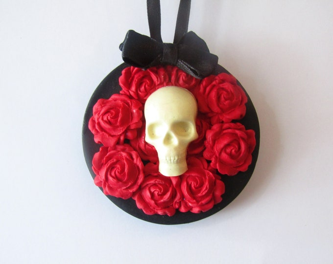 Gothic Skull and Rose Christmas Decoration or wall hanging.