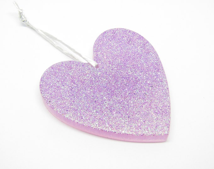 Large Heart Hanging Decoration. Iridescent Lilac with fairy dust. Wall or door hanging.