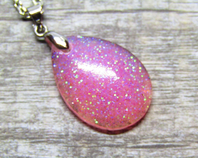 Pretty pink glitter teardrop pendant necklace.