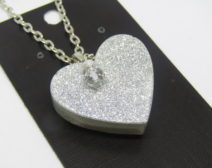 Silver Sparkle Heart Pendant Necklace with removable sparkle charm