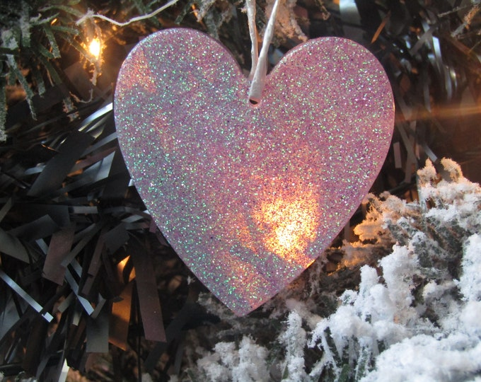 Large lilac heart Christmas tree hanging decoration. Wall or door hanging.