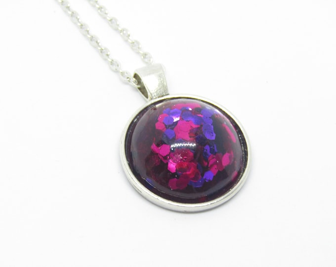Hot pink and purple Sparkle Resin Pendant Necklace