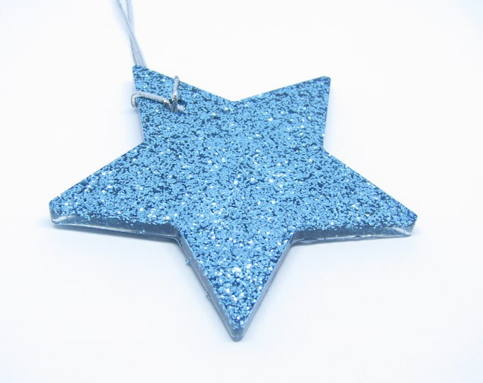 Turquoise Stars Hanging Decorations. Large, Pack of Four