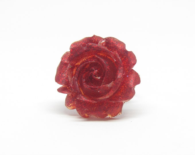 Adjustable Red Rose Ring.