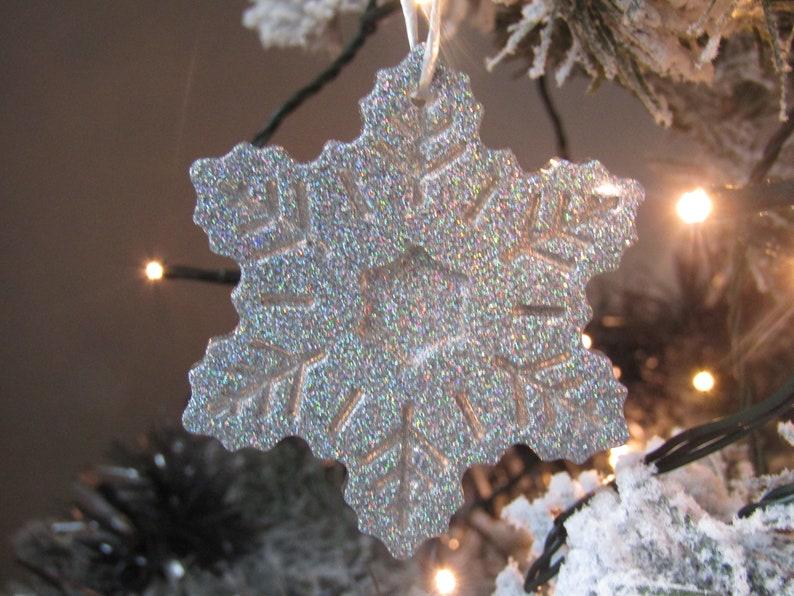 Holographic Christmas Tree.Luxury Holographic Silver Snowflake Christmas Tree Decoration Large