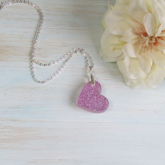 Shimmer Lilac Necklace Handmade Sparkle Unique Gift Wearable Art! Glitter