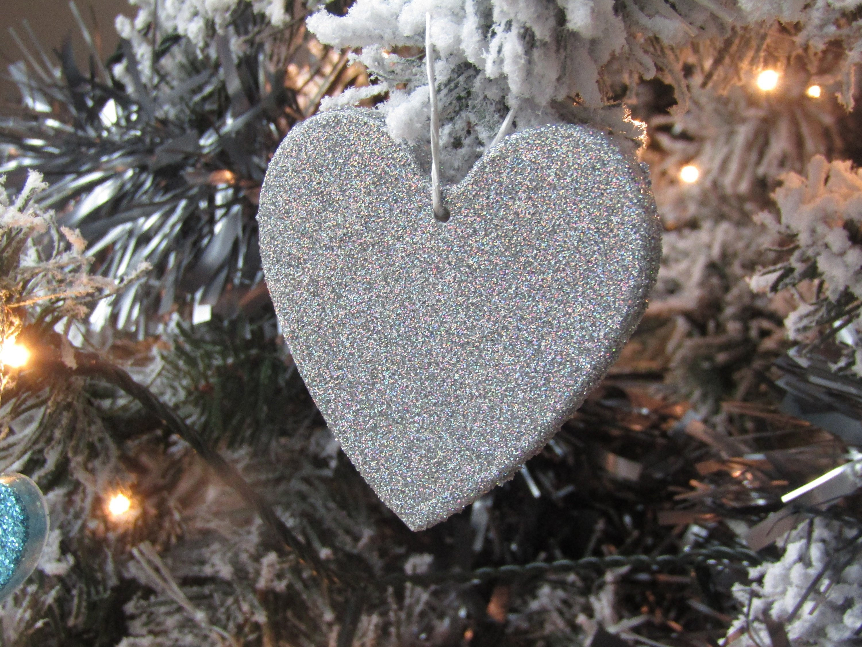 Holographic Christmas Tree.Luxury Holographic Silver Heart Christmas Tree Decoration