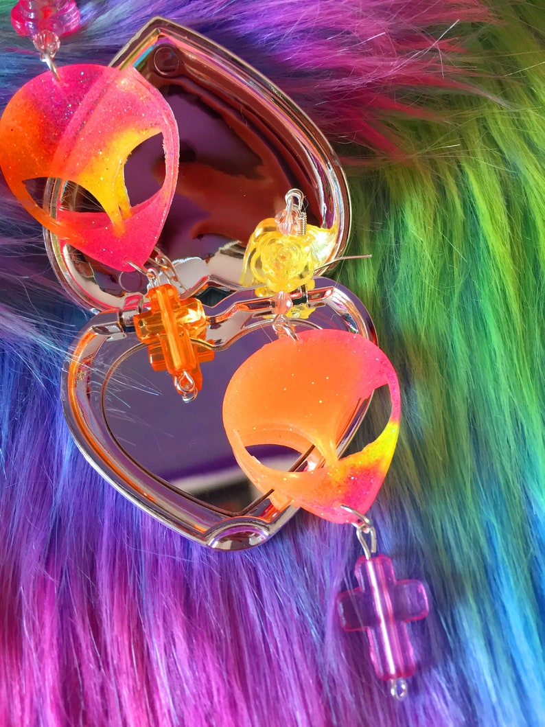 Kawaii Resin Crescent alien Glitter Pastel Glitter Rainbow Resin   Rainbow Resin earrings alien earrings