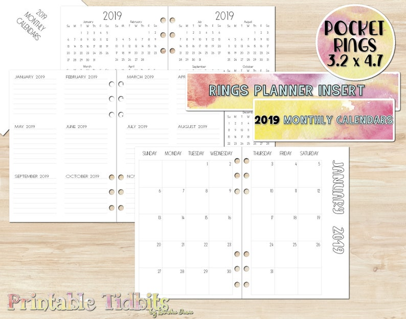 picture about Printable Pocket Calendars known as Pocket 2019 Planner Incorporate - 2019 Calendar - Printable Pocket Planner Incorporate