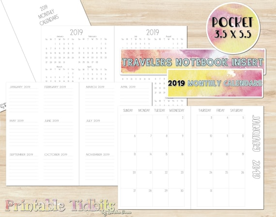 photo relating to Printable Pocket Calendar named Printable 2019 Pocket Tourists Laptop Calendar Add - 2019 Calendar