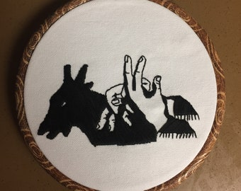 Goat Shadow Puppet Hand Embroidery