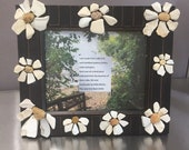 Lake Erie Art, White Daisies Frame 8 quot x10 quot , Surf-Tumbled Pottery from Lake Erie by The Lake Erie Rock Artist