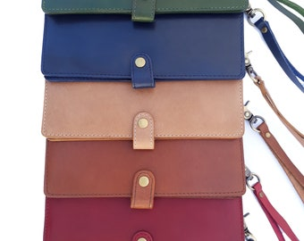 BUCINI Handmade Genuine Leather Cowskin Women's Wristlet Phone Case Wallet