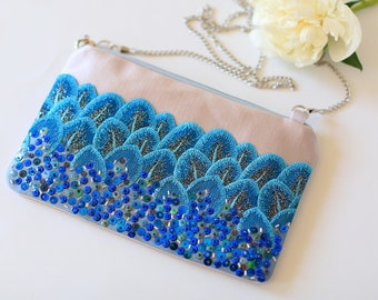 Womens Clutch bag Gift for her Evening bag silver purse Bridesmaid Gift Crossbody purse Gift for women Sequins embroidery bag