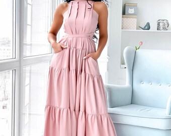 74ef4d7cd45a Blush pink dress, summer maxi dress, halter sundress, bridal shower dress
